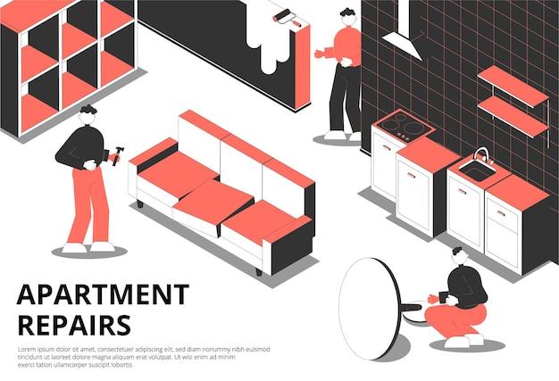 Appartement repareert isometrische achtergrond met huiselijk landschap en illustratie