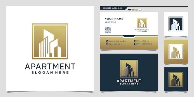 Appartementslogo bouwen met negatief ruimteconcept en visitekaartjeontwerp premium vector