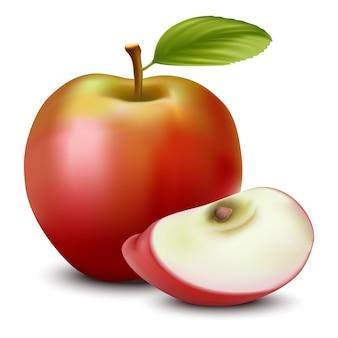 Appel en gesneden appel met zaad.
