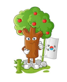 Appelboom koreaanse karakter geïsoleerd op wit