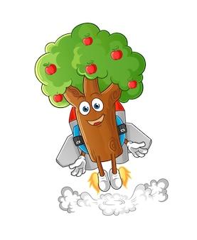Appelboom met jetpack-mascotte. tekenfilm