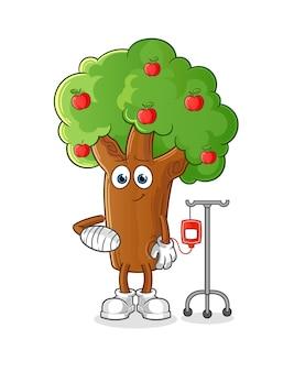 Appelboom ziek in iv illustratie. karakter