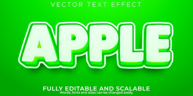 Appelfruit-teksteffect, bewerkbare aard en groene tekststijl