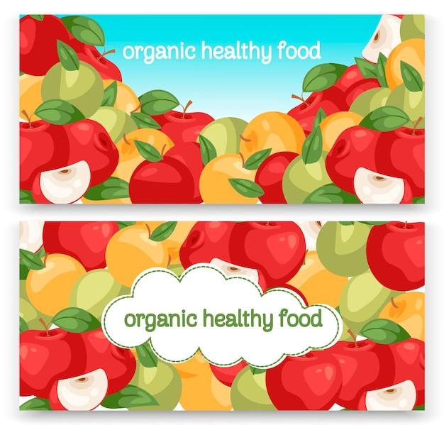 Appels fruit collectie set banners. heldere kleurrijke chard