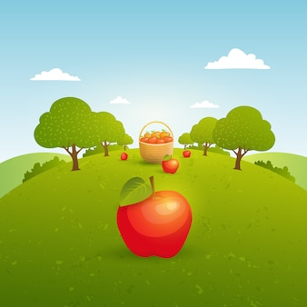 Appels in een tuin