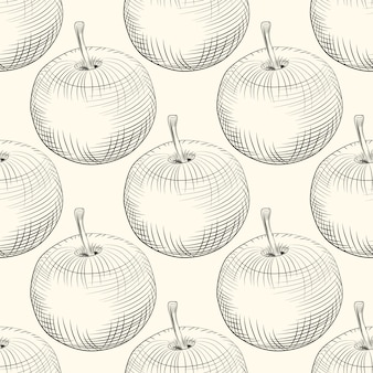 Appels naadloze patroon. appel fruit. vintage stijl graveren.
