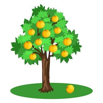 Apple-boom met groene bladeren en gele vruchten die op perceel van land groeien