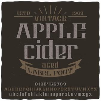 Apple cider label lettertype