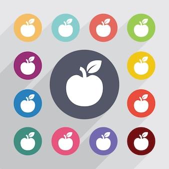 Apple cirkel, plat pictogrammen instellen. ronde kleurrijke knopen. vector