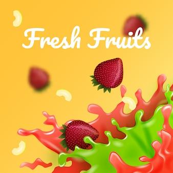 Apple en strawberry drops in color juice. vector illustratie. fruity filler. verse multi fruit.
