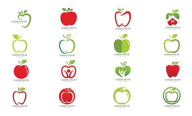 Apple fruit logo en symbool vector