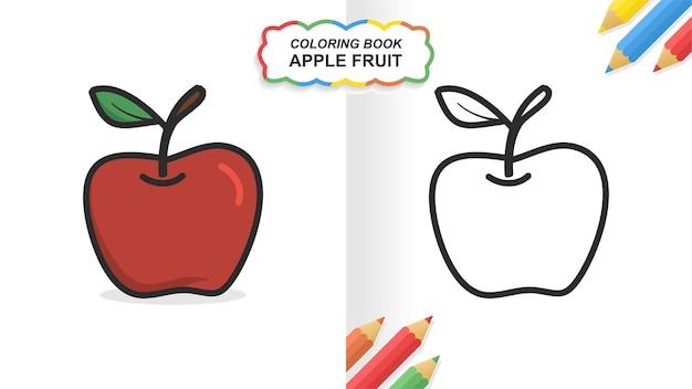 Apple hand getekend kleurboek om te leren. egale kleur klaar om af te drukken