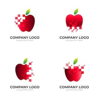 Apple-logo-ontwerp met 3d-rode kleurstijl