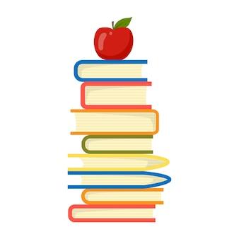 Apple op bovenste stapel boeken illustratie vector. onderwijs concept.