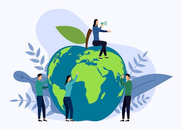 Apple wereldkaart, milieuvriendelijk concept