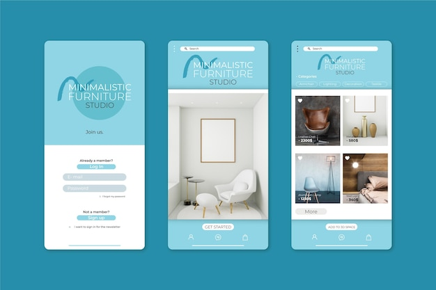 Applicatiesjabloon voor het winkelen van meubels