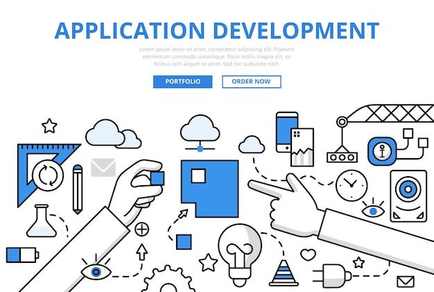 Applicatiesoftware app ontwikkeling programmeren concept platte lijnstijl. lange handen combineren vierkante puzzel