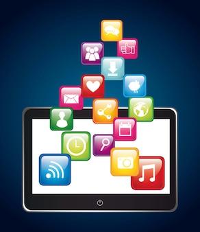 Apps over tabletapp winkel vectorillustratie