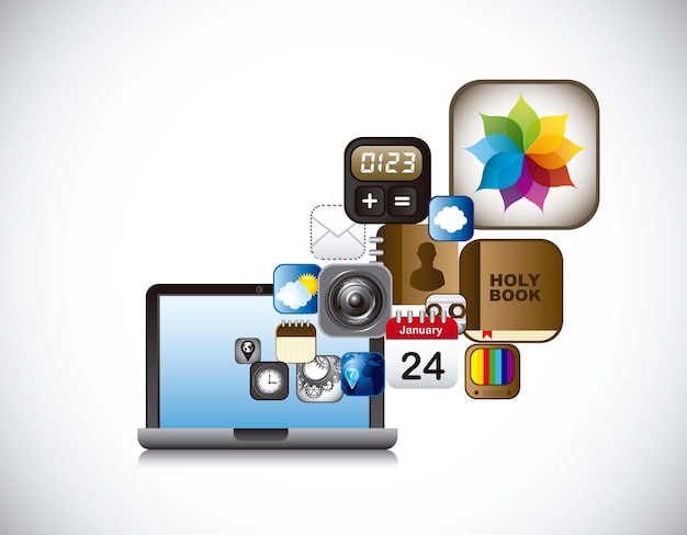 Apps pictogrammen met laptop over grijze achtergrond vector
