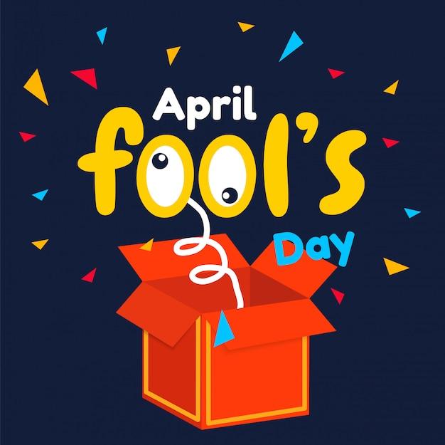 April-dwaas dagtekst en grappige rode grafische doos