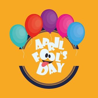 April dwazen dag kaart gekleurde ballonnen