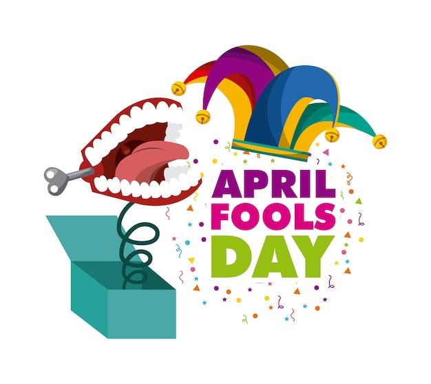 April dwazen dag kaart met jester hoed pictogram