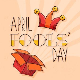 April dwazen dag met doos en hoed