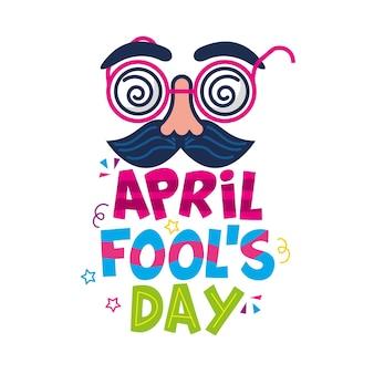 April dwazen dag met komisch geïsoleerd gezicht. illustratie