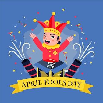 April fool's day hand getekende illustratie
