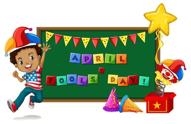 April fool's day-kaart met bord met een jongen die een narrenhoed draagt