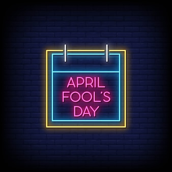 April fool's day neon signs style text