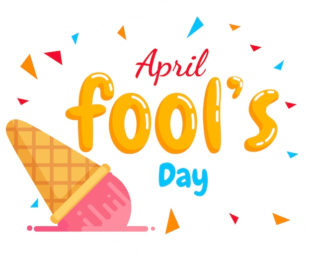 April fool's day tekst vector en val-ijs