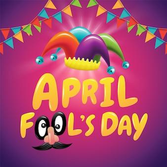 April fool's day, typografie, kleurrijk, plat ontwerp