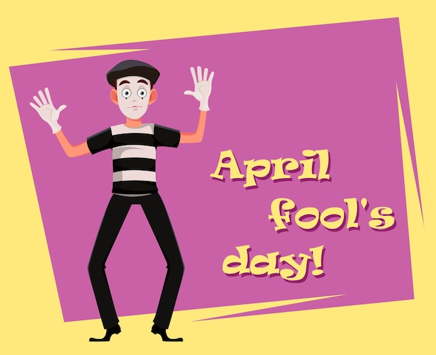 April fool's day wenskaart met mime