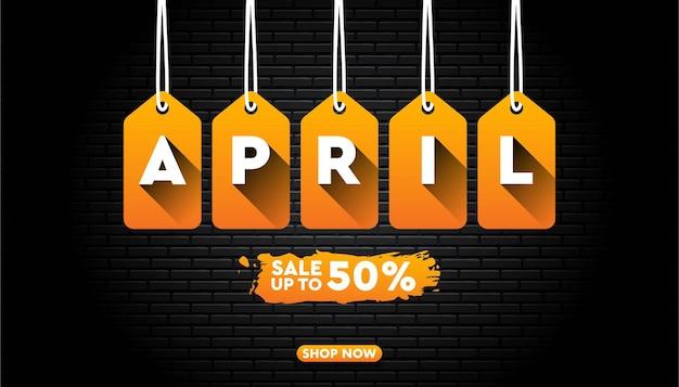 April verkoop banner met bakstenen muur
