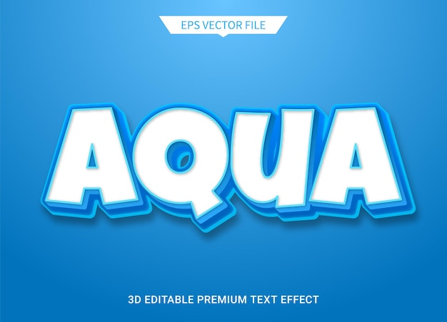Aqua blauwe 3d bewerkbare tekststijl effect premium vector