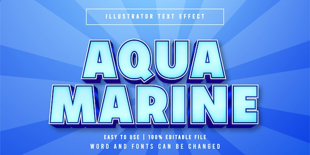 Aqua marine bewerkbare gametitel stijl teksteffect