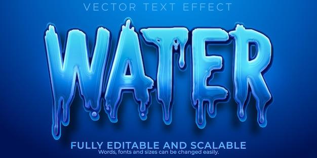 Aqua water-teksteffect, bewerkbare blauwe en vloeibare tekststijl
