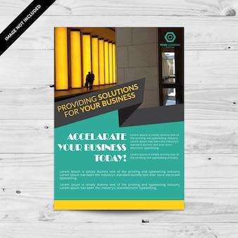 Aquamarijn business brochure met gele details