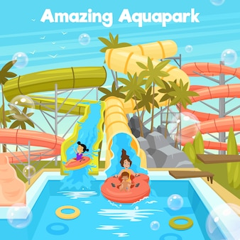 Aquapark poster sjabloon