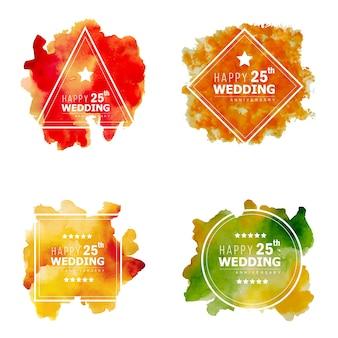 Aquarel 25 huwelijksverjaardag floral frame ontwerpen
