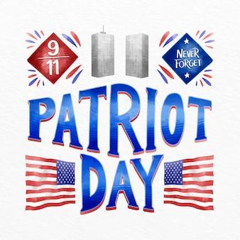 Aquarel 9.11 patriot dag belettering