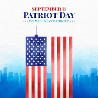 Aquarel 9.11 patriot dag illustratie