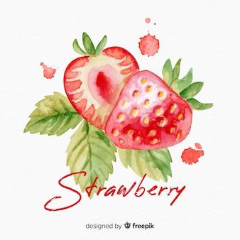 Aquarel aardbeien achtergrond
