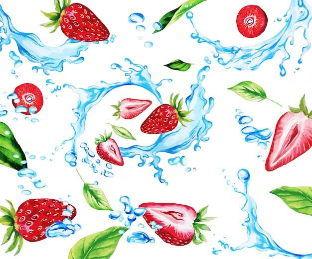 Aquarel aardbeien en bladeren onder waterspatten