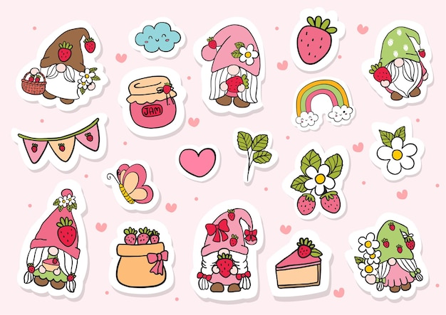 Aquarel aardbeikabouters stickers