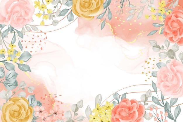 Aquarel achtergrond abstract met bloem en bladeren