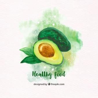Aquarel achtergrond avocado