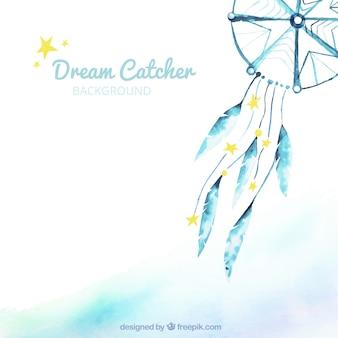 Aquarel achtergrond met blauwe dreamcatcher