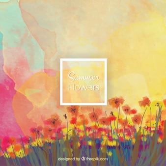 Aquarel achtergrond met bloemen